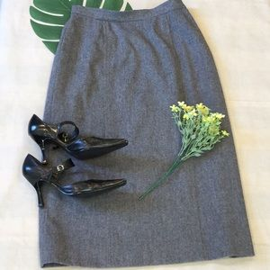 Pendleton Gray Virgin Wool Lined Pencil Skirt USA